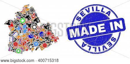 Service Sevilla Province Map Mosaic And Made In Distress Stamp. Sevilla Province Map Collage Designe