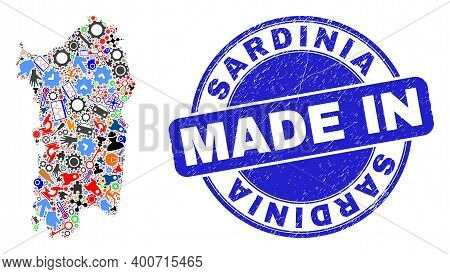 Technical Mosaic Sardinia Map And Made In Grunge Rubber Stamp. Sardinia Map Mosaic Designed With Wre