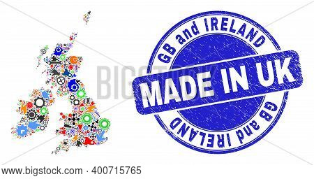 Service Great Britain And Ireland Map Mosaic And Made In Scratched Rubber Stamp. Great Britain And I