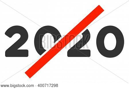 Raster No 2020 Year Illustration. An Isolated Illustration On A White Background.