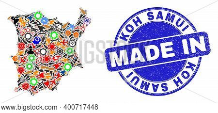 Component Koh Samui Map Mosaic And Made In Textured Stamp Seal. Koh Samui Map Mosaic Composed With S