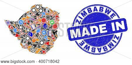 Industrial Zimbabwe Map Mosaic And Made In Scratched Seal. Zimbabwe Map Mosaic Designed With Spanner