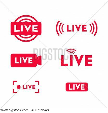 Set Of Live Streaming Icons. Live Streaming, Broadcasting, Online Stream, Tv, Shows, Movies And Live