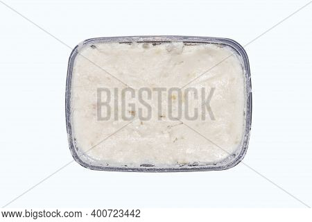 Lard For Spreading On Bread.pork Lard In A Container On A White Background.pork Fat With Garlic And