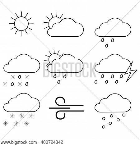 Weather Icons Black In Sketch Style. Weather Forecast Widget. Set For Report Design. Stock Image.