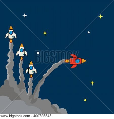 Red Rocket Changing Direction. New Ideas. Different Business Concepts. Courage To Risk. Leadership.