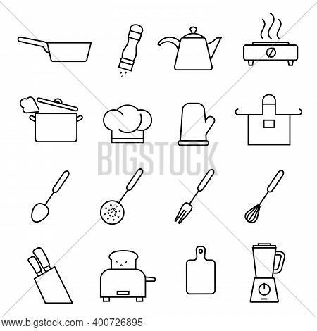 Kitchen Utensils And Utensils. Set Of Vector Icons In Flat Style