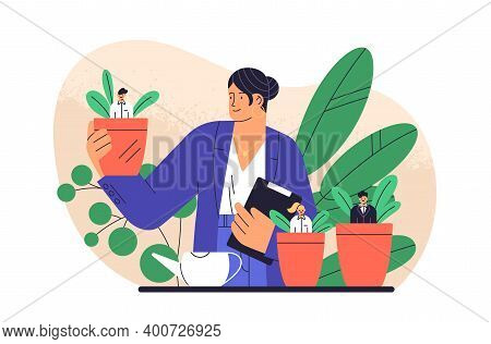 Boss Cultivate Potted Plant With Business People Isolated. Mentoring And Growing Employees Vector Fl
