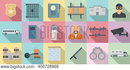 Prison Icons Set. Flat Set Of Prison Vector Icons For Web Design