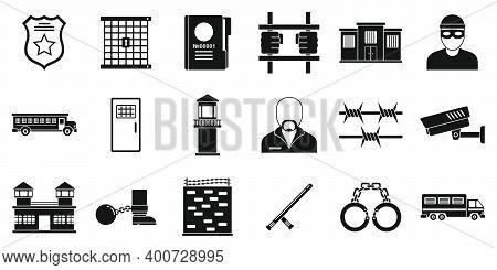 Prison Arrest Icons Set. Simple Set Of Prison Arrest Vector Icons For Web Design On White Background