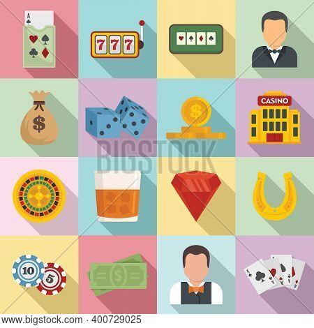 Croupier Icons Set. Flat Set Of Croupier Vector Icons For Web Design