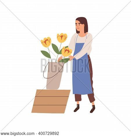 Woman Florist In Apron Care Of Yellow Flowers In Bucket Vector Flat Illustration. Female Floral Vend