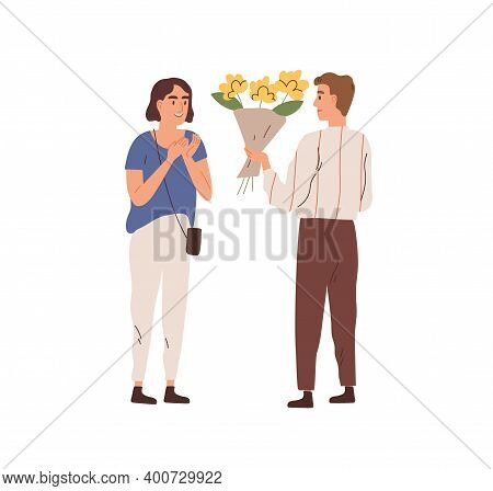 Man Giving Bouquet Of Beautiful Flowers To Woman Vector Flat Illustration. Male Admirer Making Flori