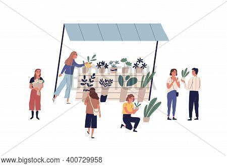 Outdoor Stall Or Shop With Potted Houseplants At Local Flower Market Vector Flat Illustration. Custo