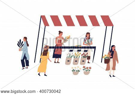 Female Florists Making And Selling Bouquets At Outdoor Market Vector Flat Illustration. Customers Wa