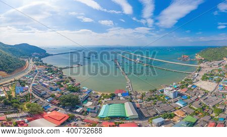 Aerial View Of Pier With Boats With Container Cargo Ship In The Export And Import Business And Logis