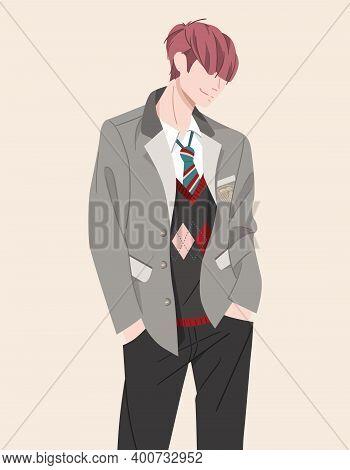 Character Teenager Of College, School In Uniform Suit, Jacket, Tie, Pants. Millennial Generation. Yo