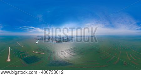 360 Panorama By 180 Degrees Angle Seamless Panorama Of Aerial View Of Aquaculture Nets For Fish Farm