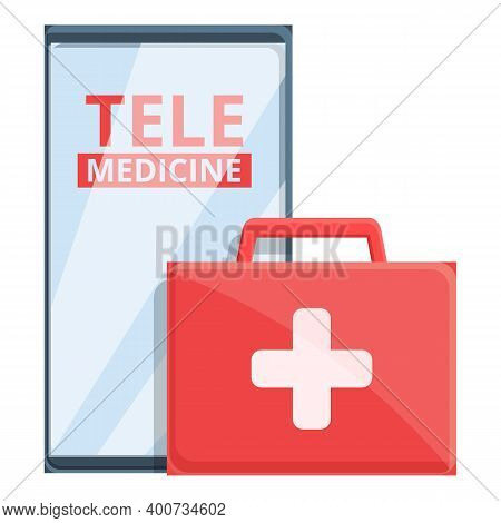 Telemedicine First Aid Kit Icon. Cartoon Of Telemedicine First Aid Kit Vector Icon For Web Design Is