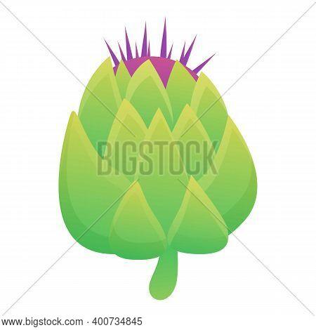 Flower Artichoke Icon. Cartoon Of Flower Artichoke Vector Icon For Web Design Isolated On White Back