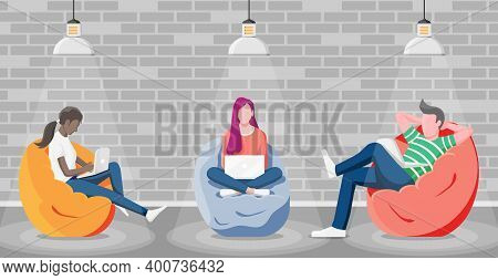 Happy Male, Female Character Working At Laptop. Business People Sitting In Bean Bag Armchair. Group
