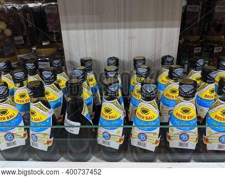 Denpasar, Indonesia - October 12, 2019: Rows Of Bottles Of Brem Bali (bali Rice Wine) On The Shelf O