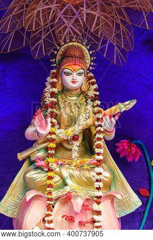 Goddess Saraswati Idol Decorated At Puja Pandal, Saraswati Symbolizes Creative Energy And Is Conside