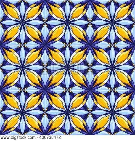 Ceramic Tile Pattern. Decorative Abstract Background. Traditional Ornate Mexican Talavera, Portugues