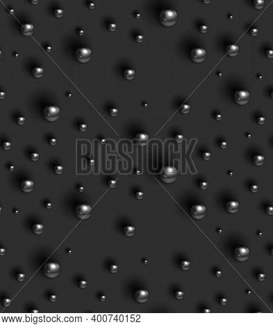 Black Shiny Balls On Grey Background. Geometric Seamless Pattern. Texture With Dark Gray Round Spher