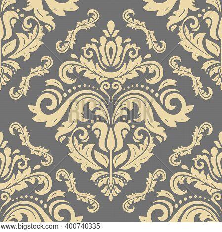Classic Seamless Pattern. Damask Orient Ornament. Classic Vintage Golden Background. Orient Ornament