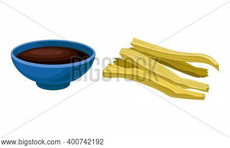 Soy Meat Or Textured Soy Protein And Soy Sauce In Bowl Vector Set