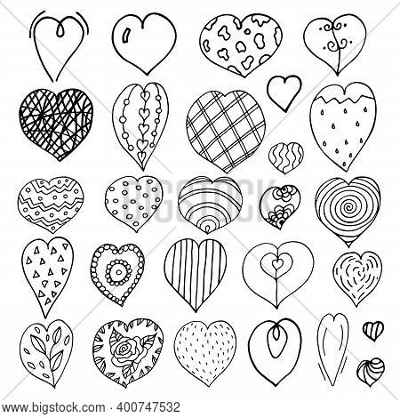 Doodle Heart Set. Outline Drawing Different Elements. Primitive Drawing. Saint Valentins Day.