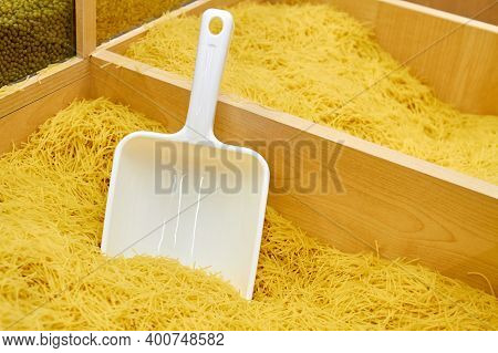 Vermicelli Or Pasta In A Tray With A Plastic Spatula In A Supermarket