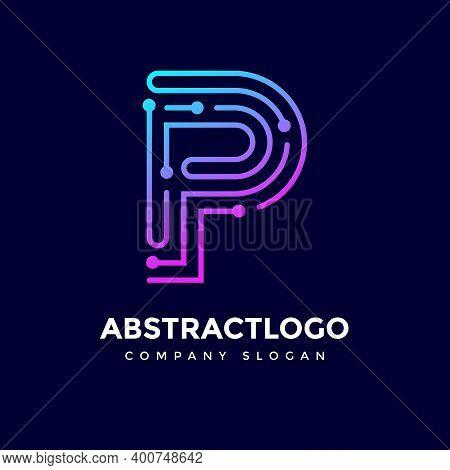 Letter Dots P Logo Vector. Alphabet P Technology Logotype.