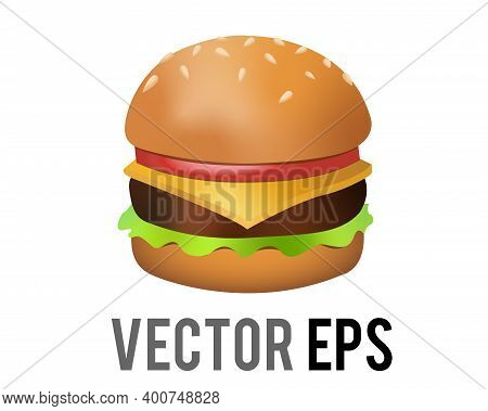The Isolated Vector Cheeseburger Icon With Burger Beef Patty, Sesame Bun, Cheese, Lettuce, Tomato