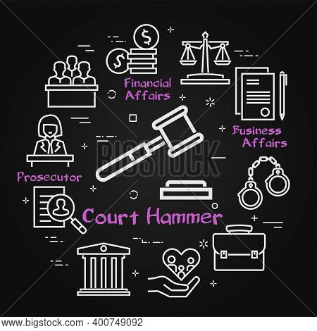 Vector Black Line Banner Of Legal Proceedings - Court Hammer Icon