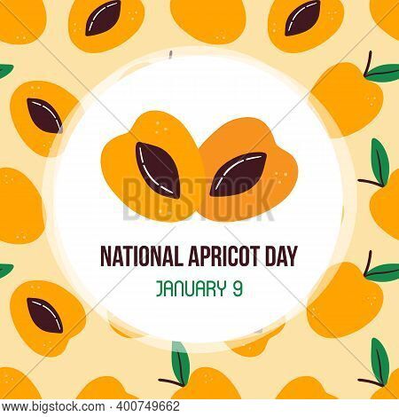 National Apricot Day Vector Card, Illustration With Cute Cartoon Apricots And Leaves Seamless Patter