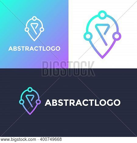 P Letter Technology Logo With Location Sign Symbol, Digital Abstract, And Minimal Looking P Font Ico