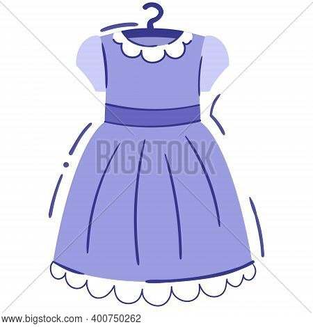 Baby Girl Dress On Hanger - Isolated Vector Illustration. Cute Lilac Dress With White Collar And Lac