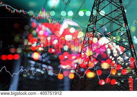 Market Stock Graph And Information With City Green Blue Light And Electricity And Energy Facility Ba