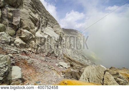 The Crater Of Ijen Volcano In East Java, Indonesia