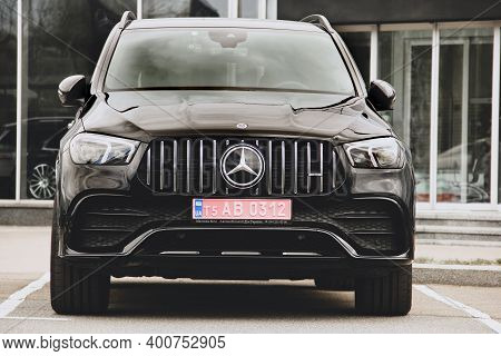 Kiev, Ukraine - April 21, 2020: Black Luxury Mercedes Car In The City