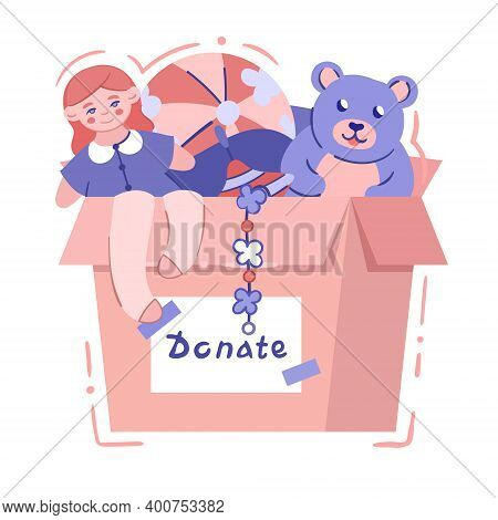 Charity Box With Baby Toys - Isolated Vector Illustration In Hand Drawn Style. Card Box With Signatu