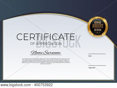 Blue And Gold Certificate Of Achievement Template Background With Gold Badge And Border. Award Diplo