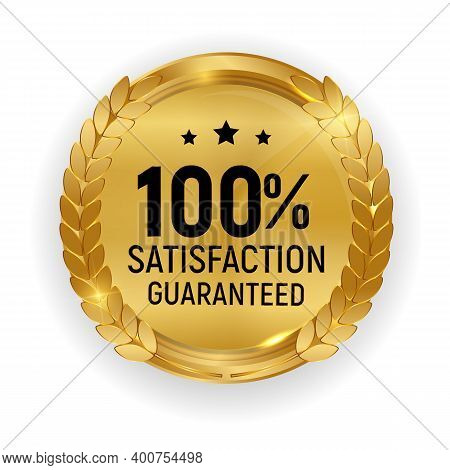 Premium Quality Gold Medal Badge.100 Satisfaction Guaranteed Sign Isolated On White Background. Vect