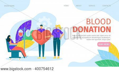 Charity Blood Donation In Hospital, Medicine Aid Transfusion Vector Illustration. People Character M