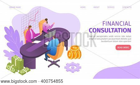 Financial Business Consultation With Flat People Character Vector Illustration. Finance Analysis Web