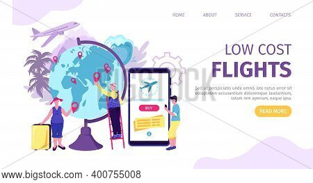 Low Cost Airplane Flight Ticket, Vector Illustration. Cheap Offer For People Character Concept, Temp