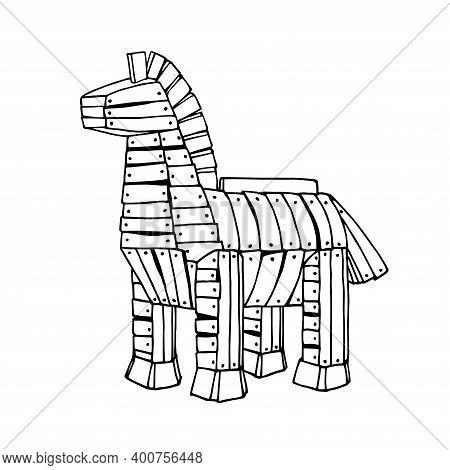 Ancient Trojan Horse Made Of Wooden Boards, Legendary War Tactics, Computer Virus Concept, Vector Il