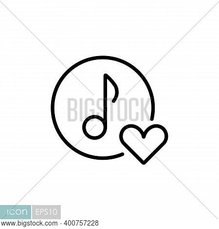 Musical Note Icon, Music Icon With Heart Sign. Like Music Icon. Musical Note Icon And Favorite, Like